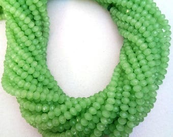 """Green Chalcedony Hydro, Chalcedony Beads, 3-3.5mm Hydro Beads , 13"""" Long Chalcedony Strands, Micro Faceted Chalcedony Beads Making Jewelry."""