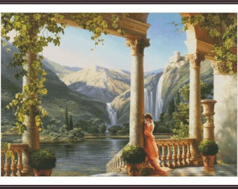 Scenic Cross Stitch Chart | Counted Cross Stitch Pattern | Cross Stitch Woman | Waterfall Cross Stitch Design | PDF Needlepoint Pattern