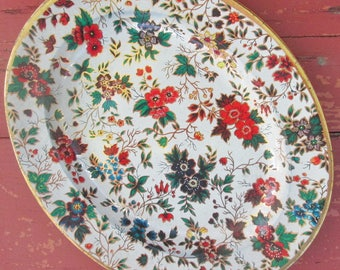 "Vintage Tin Platter/ Tray - Colorful Floral Platter - Nevco - Made In Republic of South Africa - 10 1/2"" by 13"""