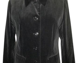 Vintage 90's Bossini Black Velvet Jacket Size: 6 (S)