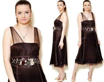 silk dress brown art deco woman gatsby a line satin flared beaded vintage embellished floral gypsy empire waist sleeveless application 90s