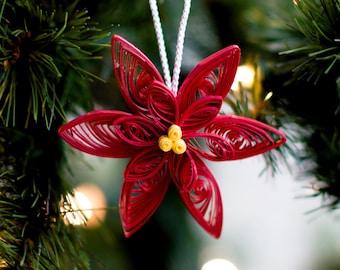 Valentine present. Poinsettia Ornament -    Ornament - Paper Ornament - Quilled Ornament - Paper Quilling