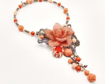 Coral rose necklace, beaded flower pendant, statement exclusive handmade jewelry, OOAK, pink grey nude, gift for her, bohemian chic vacation