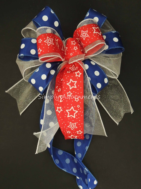 July Fourth Wreath Bow Red White Blue Patriotic Door Hanger Decor Fourth of July Party decor Gifts Bow Independence Day Bow Military Bow