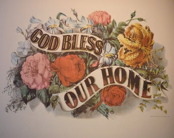 God Bless Our Home - Perfect for your home - housewarming gift - 3 sizes to choose from - Framable print Americana