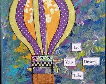 Hot Air Balloon Nursery Art, Let Your Dreams Take Flight , Mixed Media Canvas, Whimsical Child Room Art, Inspirational Quote, Wall Art,