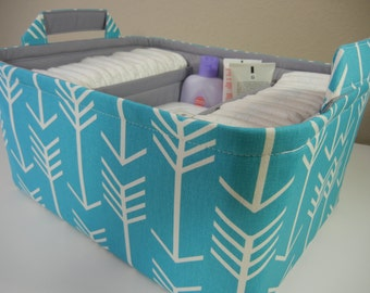 "Ex Large Diaper Caddy-14""x 10""x 7""(CHOOSE Basket & Lining COLOR)Two Dividers-Baby Gift-Fabric Storage Organizer-""Turquoise Arrow"""
