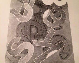 Alphabet B&W Monotype Print