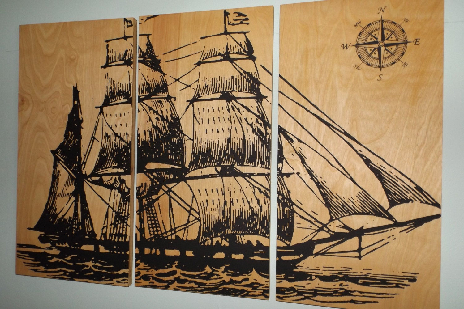 Vintage Pirate Ship Sailboat Screen Print Wood Painting