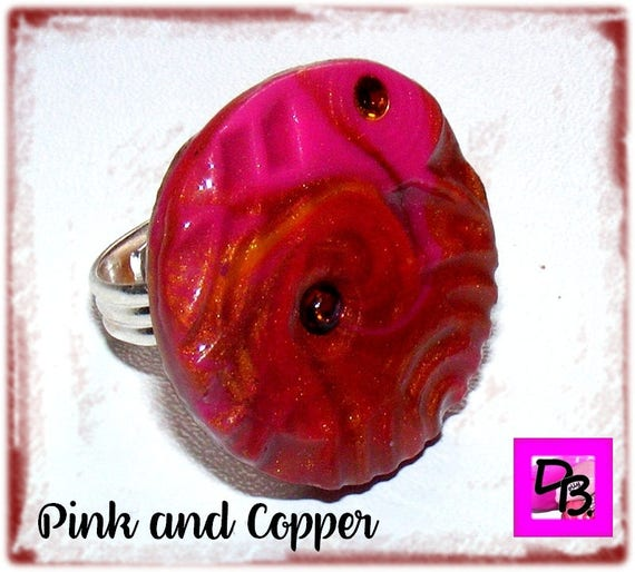 Bague Fimo [Pink and Copper]