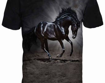 Beautiful 3D Black Horse Steed Mustang Sublimation Men T-shirt