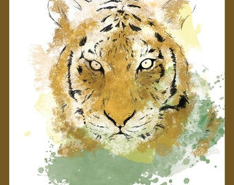 Charity sale -  Watercolour Tiger - stylish Print / Poster