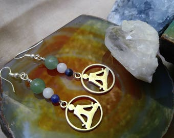 Yoga Meditation Earrings with Natural Stones on Sterling silver hooks