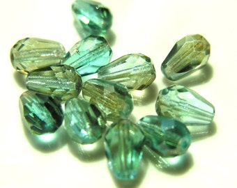 Aqua Celsian Faceted Teadrop Beads 12