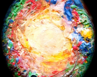 Earth-Glow encaustic painting on cedar wood round slice