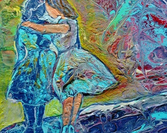 "Embellished Acrylic Pour, Tile Art, Fluid Art, Faceless Women, Friendship, ""Coming Alongside"""