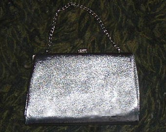 SILVER CLUTCH PURSE  - 1950's (Used)