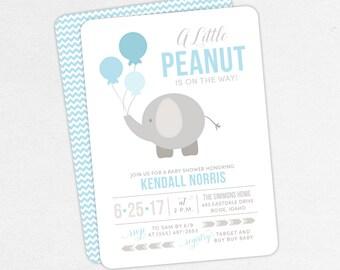 Elephant Baby Shower Invitation, Neutral Baby Shower, Boy Baby Shower, Printable Invitation, PDF Invitation, Balloons, Blue, Little Peanut