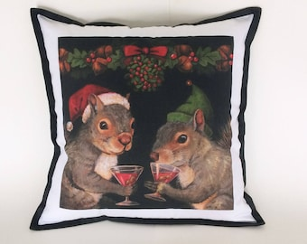 Christmas Squirrel Pillow, Squirrel Portrait Pillow, Chistmas Cocktails, Squirrel Lover Gift, Hostess Gift, Animal Lover, Teacher's Gift