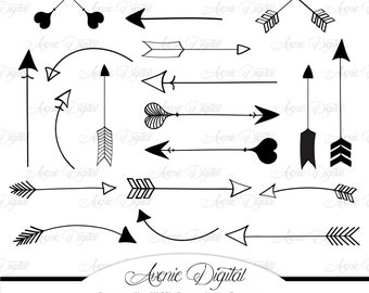 Black Arrow Clipart. Scrapbook printables, Tribal doodle arrows for Commercial Use. Hand drawn archery graphics for logos Instant Download.