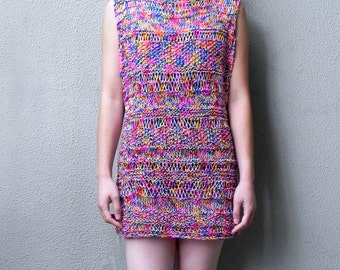 Handknit, Tunic ,  Dress, Summer Dress, Boho Dress, Mini, Multicolour, Cotton Dress, Woman, Sleeveless Dress, Red
