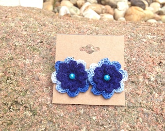 Crochet Flower Stud Earrings