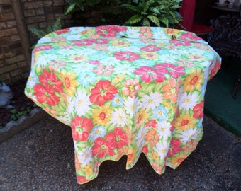 """Vintage Vivid Colorful Bright Florals Tablecloth-100""""x120""""-Orange/Red/Pink/Green/Yellow-Beautiful"""