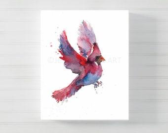Canvas Cardinal Art, Canvas Bird Art, Watercolor Cardinal on Canvas, Cardinal Painting, Cardinal Print, Canvas Art, Watercolor Bird
