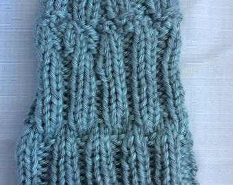 Messy Bun Beanie Fold Over Brim Grey Blue Adult Handmade Handknit American Acrylic Yarn