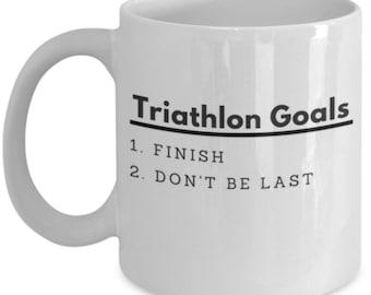 Triathlon Coffee Mug - Triathlon Goals - Funny Mugs For Triathletes