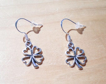 Four Leaf Clover Earrings, Lucky Earrings, Charm Earrings, Jewelry Findings