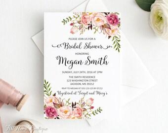 Bridal Shower Invitation, Floral Bridal Shower Invitation, Boho Bridal Shower Invite, Bridal Shower Printable, W282