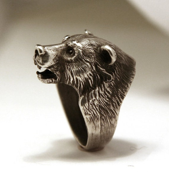 Bear In Hing Reng 2: Bikers Ring Bear Head Ring Good Gift Sterling Silver Ring