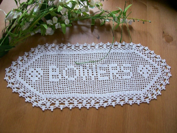 Crochet Wedding Gift: Crochet Name Doily Anniversary Gift Wedding Gift Ideas