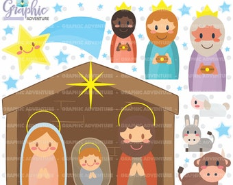 Nativity Clipart, Nativity Graphics, COMMERCIAL USE, Christmas Clipart, Christmas Graphics, Kawaii Clipart, Christmas Images