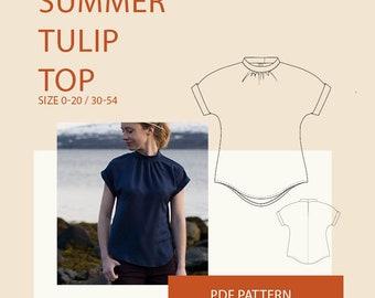 Blouse pattern for women  top PDF sewing pattern for women  Womens summer tunic sewing pattern  Boho tunic PDF pattern
