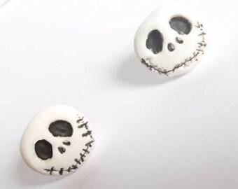 Jack Skellington Earrings,  Skeleton Studded Earrings, Jewellery, Creepy cute, Goth, Handmade, FREE  P&P