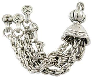 Tassel pendants, set of 2 silver 6.9 cm long necklace, earring