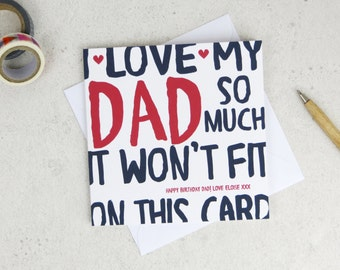 Funny Dad Birthday Card - personalised card - card for dad - birthday card - funny card - dad birthday - uk