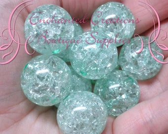 20mm Mint Green Crackle Beads, Chunky Beads, Bubblegum Beads, Gumball Beads, Chunky Jewelry Beads, Acrylic, Gum Ball Bead, Large Bead