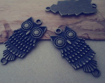 10pcs Antique bronze Owl Pendant charm 18mmx38mm