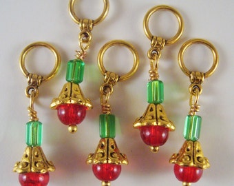 Red Flower Knitting Stitch Markers Golden Bells Flowers Berries Set of 5/SM212A