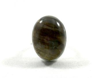 Blue Fire Labradorite Ring - Size: 5.5