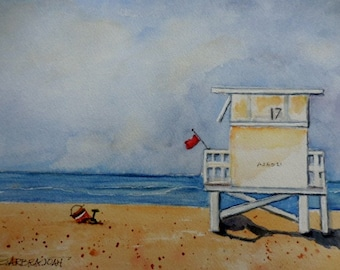 Beach Watercolor, Original Watercolor, ocean scene, Florida