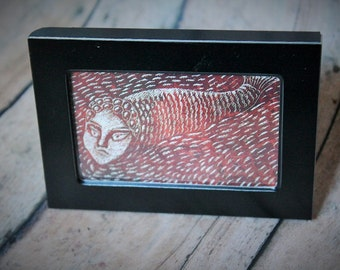 Book art-Framed mini book art-Madalenka book-Weird art decor-mini art-creepy fish dude-creepy decor-gothic decor-unique framed picture-OOAK