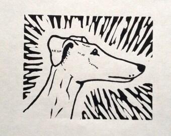 Greyhound Profile Original Linocut Print