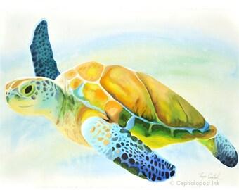 Sea Turtle Watercolor Art Print 8x10