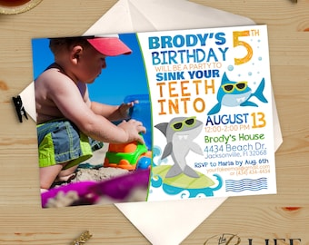Chomp Chomp Surfing Sharks Pool  Birthday Invitation Printable DIY No. I280