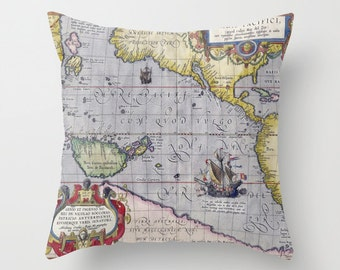 Antique World Map Throw Pillow, Vintage Map Pillow, Old World Map Decorative Pillow, Office Pillow, Office Decor, World Map, Dorm, Ancient