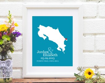 Costa Rica Map  Wedding Gift, Personalized Costa Rica Wedding Country, First Year Anniversary, Destination Wedding- Art Print